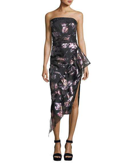 Milly Sasha Strapless Floral-Metallic Organza Asymmetric Cocktail