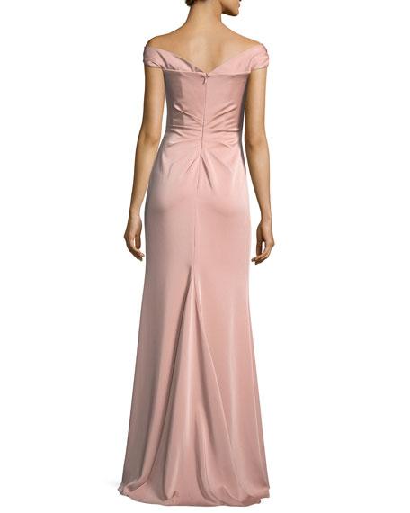 Off-the-Shoulder Column Faille Satin Evening Gown