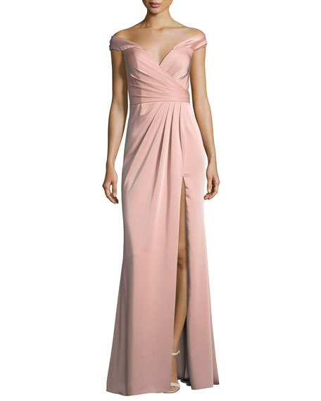 Off-the-Shoulder Column Faille Satin Evening Gown