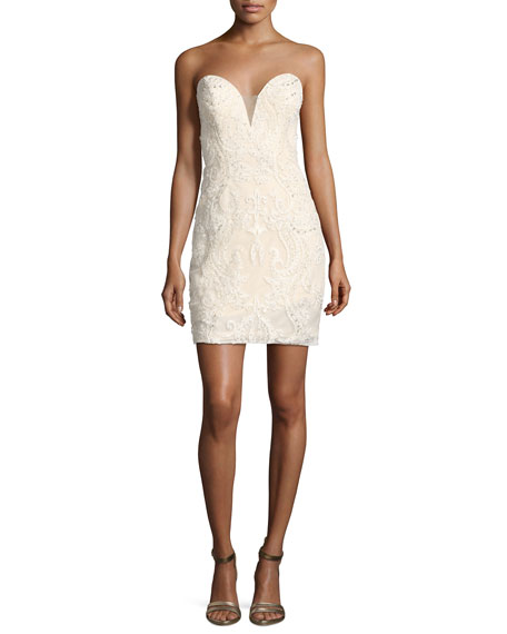 Faviana Bustier Strapless Lace Mesh Cocktail Dress