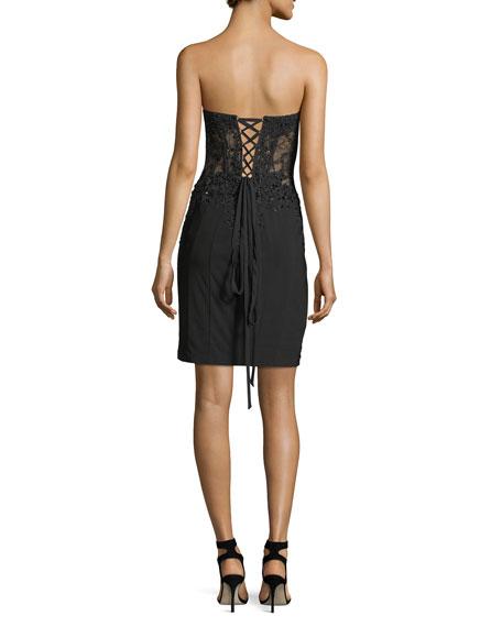 Strapless Lace Corset Bustier Cocktail Dress