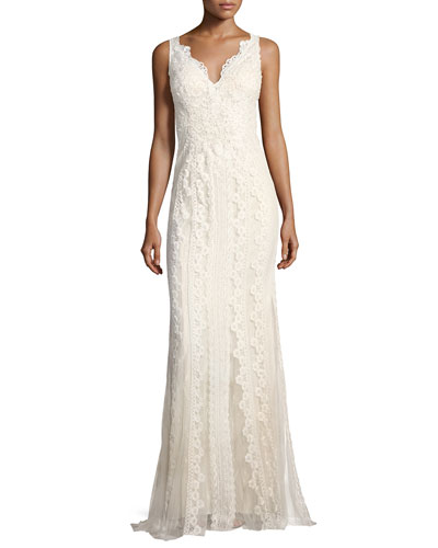 950188ff2f13 Faviana V-Neck Lace-Embroidered Dress w/ Tulle Inserts