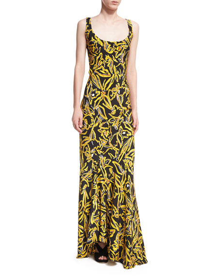 Diane von Furstenberg Sleeveless Bias Slip Scoop-Neck Printed