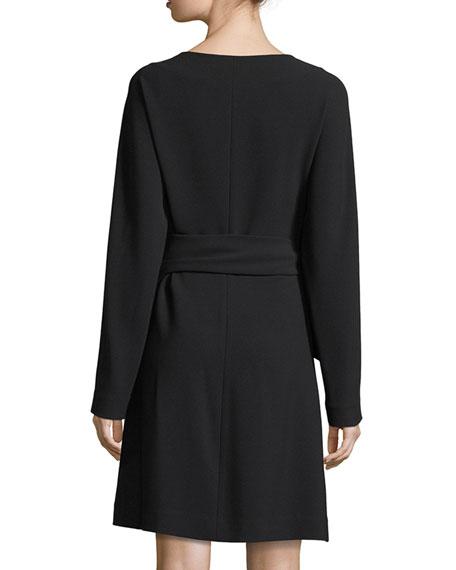 Long-Sleeve Draped Crepe Wrap Dress