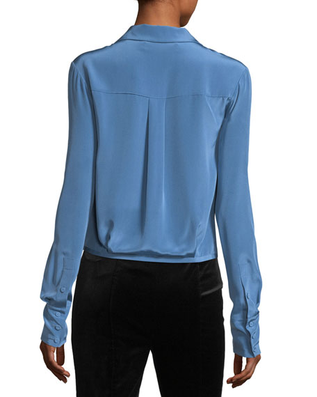 Long-Sleeve Collared Crossover-Bodice Silk Blouse