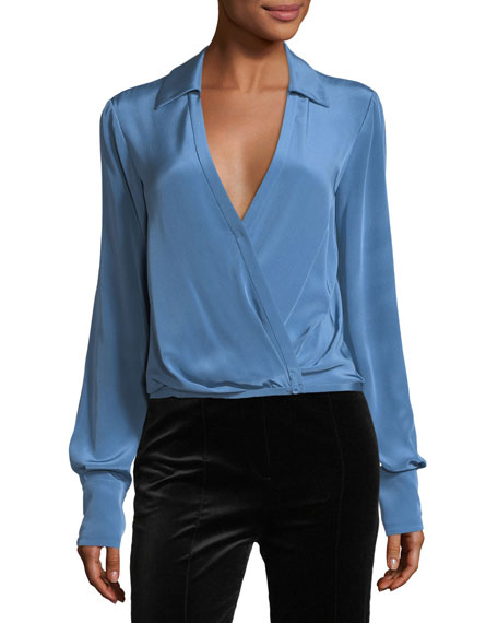 Diane von Furstenberg Long-Sleeve Collared Crossover-Bodice Silk