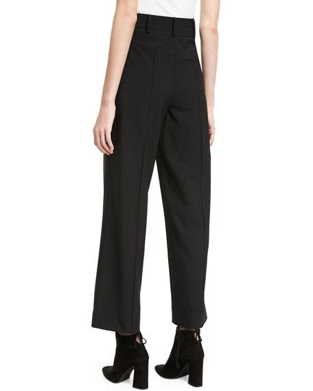 High-Waist Seam Wool Culotte Pants