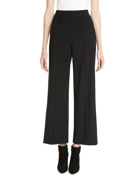 Wide-Leg Pintucked Wool-Blend Trousers in Black