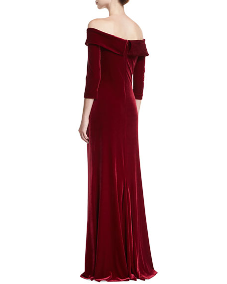 Off-the-Shoulder 3/4-Sleeve Column Evening Gown