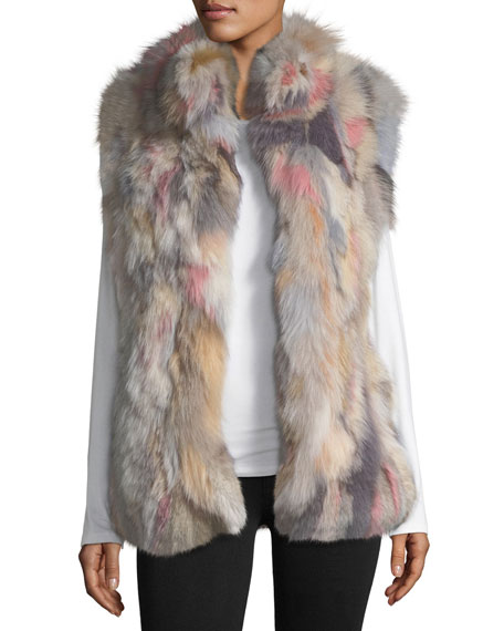 JOCELYN STAND-COLLAR FUR VEST