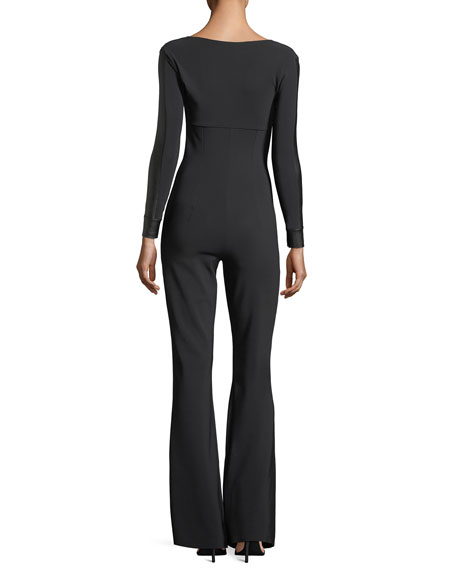Cecilia Long-Sleeve Flared-Leg Jumpsuit w/ Faux Leather