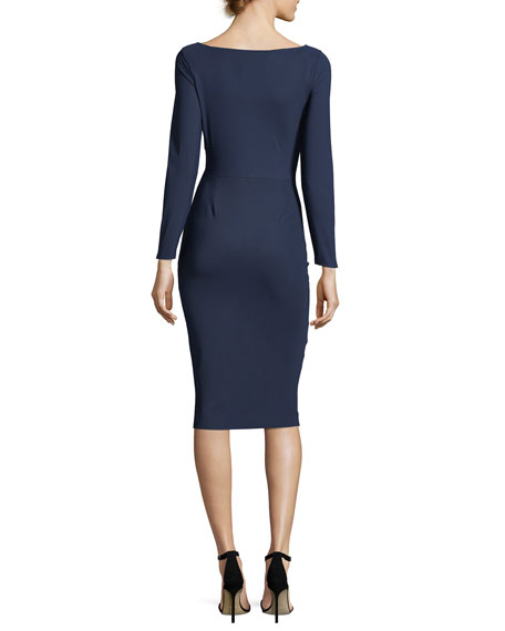 Janette Long-Sleeve Velvet-Trimmed Jersey Sheath Dress