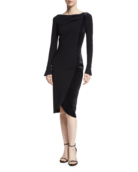 Chiara Boni La Petite Robe Maysa Long-Sleeves Boat-Neck