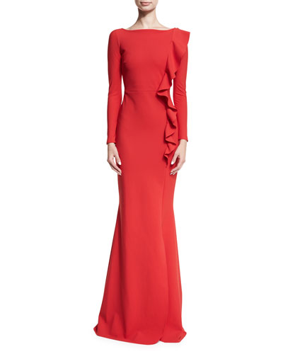 Womens evening dresses at neiman marcus dilia boat neck trumpet evening gown w ruffled trim junglespirit Gallery
