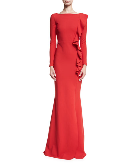 Dilia Boat-Neck Trumpet Evening Gown w/ Ruffled Trim