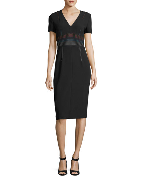 Diane von Furstenberg Short-Sleeve V-Neck Tailored Sheath Dress