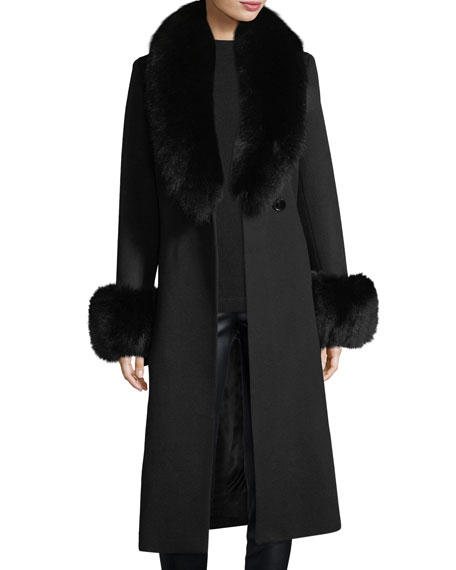 Fur Shawl & Cuff Long Top Coat