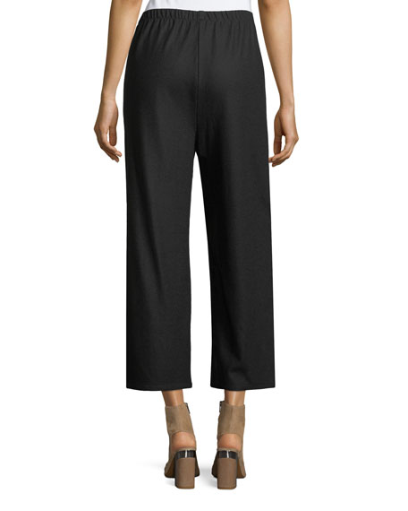 Boiled Wool Jersey Wide-Leg Cropped Pants