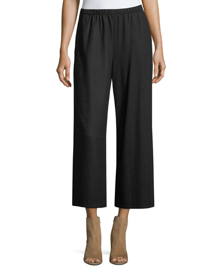 Eileen Fisher Boiled Wool Jersey Wide-Leg Cropped Pants