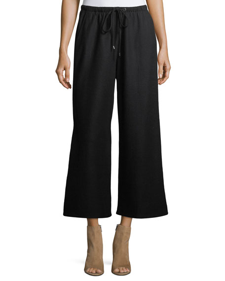 Eileen Fisher Boiled Wool Jersey Wide-Leg Cropped Pants,