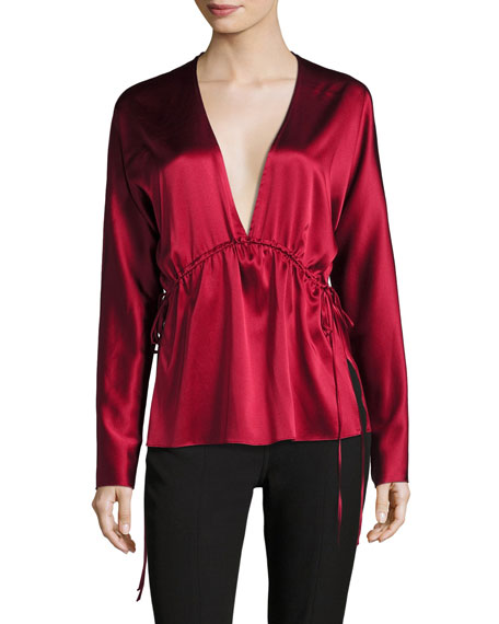 Ophelie Plunging Satin Top w/ Side Ties
