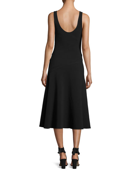 Hunter Scoop-Neck Sleeveless Ponte Midi Dress