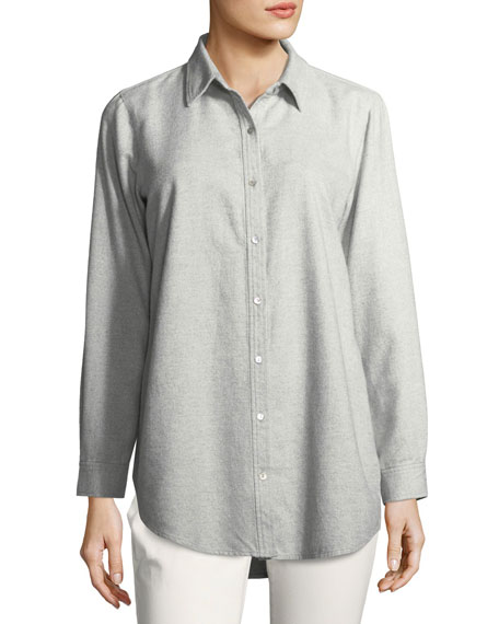 Eileen Fisher Organic Cotton Flannel Twill Boyfriend Shirt,