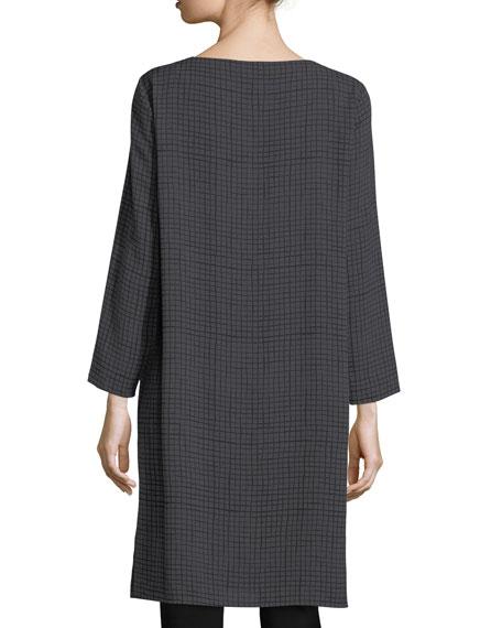 Grid-Print Silk Crepe Tunic