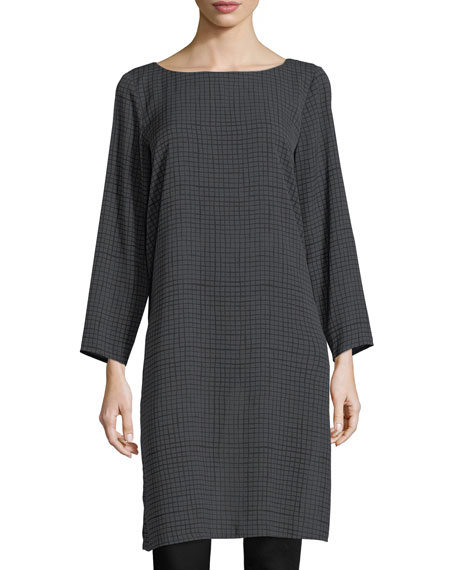 Eileen Fisher Grid-Print Silk Crepe Tunic