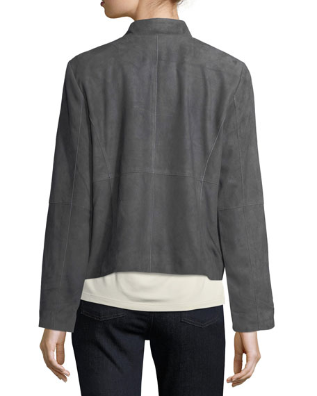 Soft Goatskin Suede Open Jacket