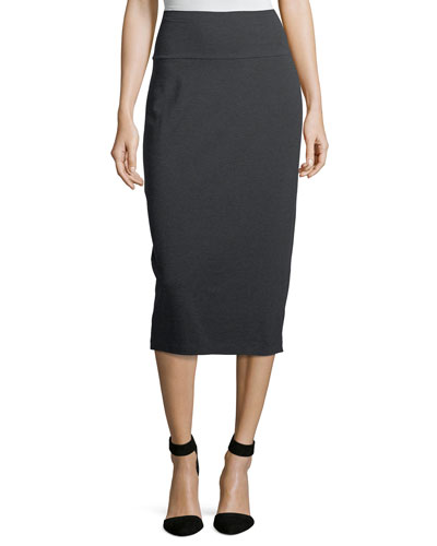Cozy Stretch-Jersey Midi Pencil Skirt