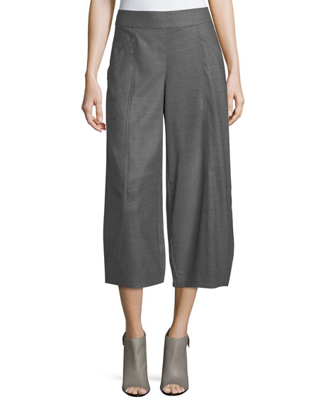 Heathered Stretch-Flannel Twill Cropped Pants, Petite