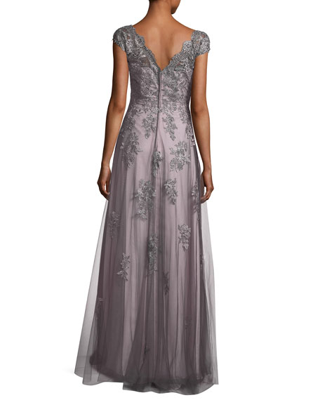 V-Neck Embroidered Mesh Evening Gown