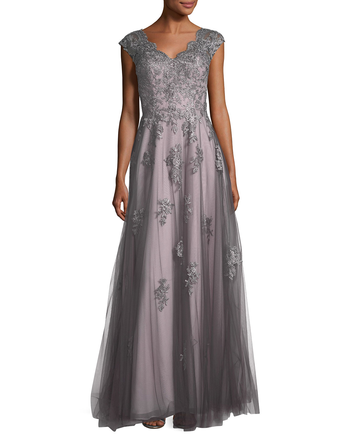 La Femme V Neck Embroidered Mesh Evening Gown Neiman Marcus