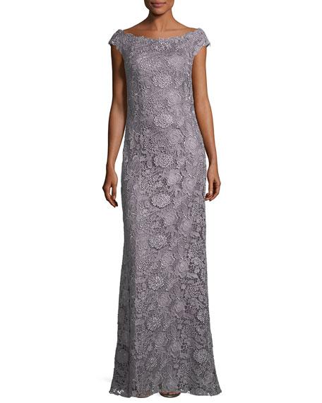 Bateau-Neck Cap-Sleeve Lace Evening Gown
