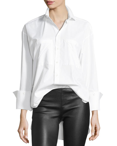 PALMER/HARDING Mom Button-Front Long-Sleeve Poplin Shirt in White