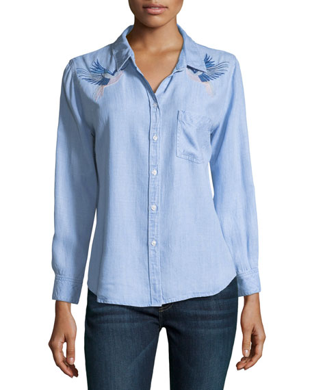 Rails Ingrid Button-Front Long-Sleeve Denim Shirt w/ Embroidery