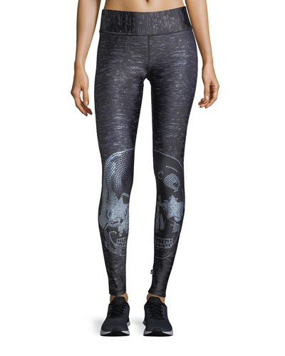 Terez Crystal Skull Tall-Band Performance Leggings