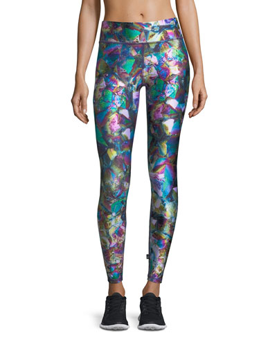 Terez Metallic Crystal Tall Band Performance Leggings