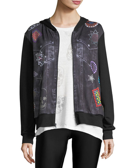 Terez Denim Crystal Zip-Front Printed Jacket