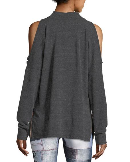 Mock-Neck Cold-Shoulder Side-Zip Pullover Top