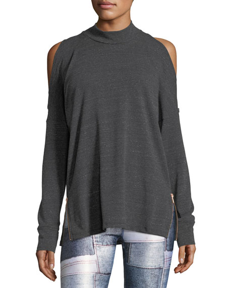 Terez Mock-Neck Cold-Shoulder Side-Zip Pullover Top