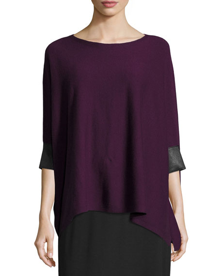 Eileen Fisher Cashmere Boxy Top w/ Leather Trim