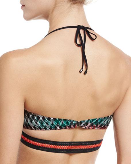 Stitch-Trim Bandeau Swim Top, Black