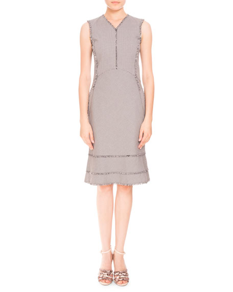 Altuzarra Doe Sleeveless Mini-Gingham Fringe Dress, Black/White