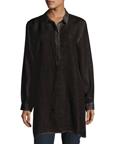Long-Sleeve Collared Henley Linen Tunic