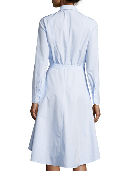 High-Low Cotton Poplin Shirtdress