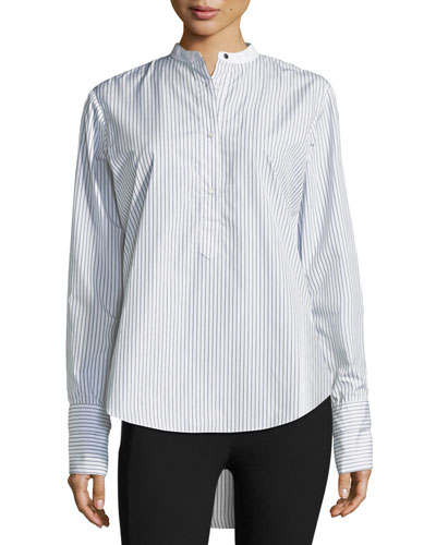 Dylan Long-Sleeve Striped Poplin Shirt