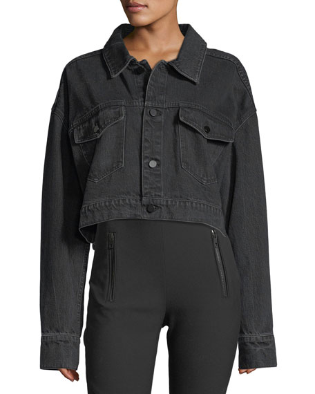 Cropped Oversized Denim Jacket