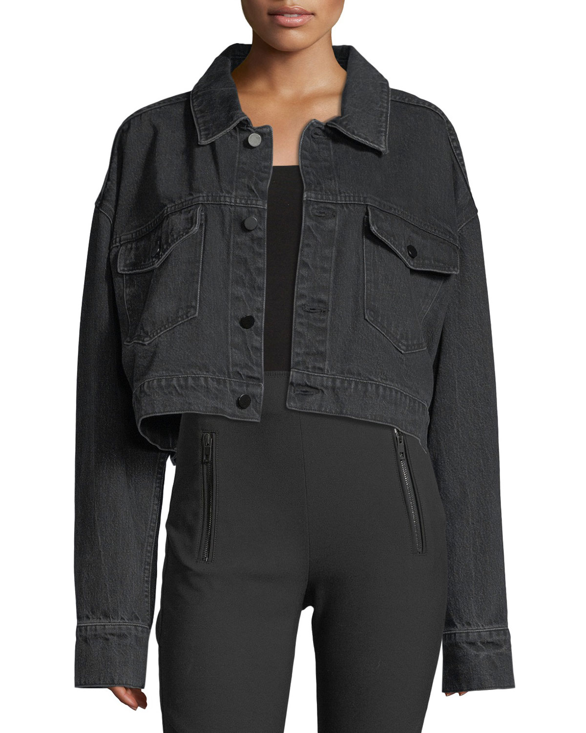 T by Alexander Wang Cropped Oversized Denim Jacket  b0c1a6d627b6